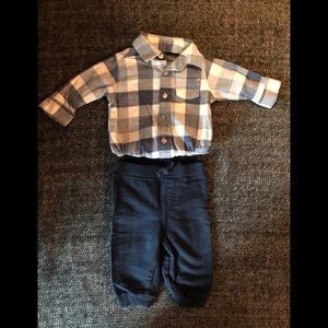 Carters navy plaid onesie and navy sweat pants.